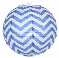 "14"" Dark Blue Chevron Paper Lantern, Even Ribbing, Hanging Decoration"