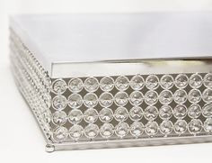 Designer Crystal Stainless Steel Cake Stand - 14 x 5.9 Inch Square, Bejeweled