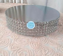 Designer Crystal Stainless Steel Cake Stand - 18 x 5.5 Inch Round, Bejeweled