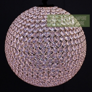 Designer Crystal Stainless Steel Chandelier - 14 Inch Round Sphere, Bejeweled