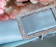 Designer Silver Rhinestone Napkin Ring w/ Clasp - Rectangle, Bejeweled