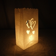 Double Heart Paper Luminary Bags Path Lighting (10 PACK)