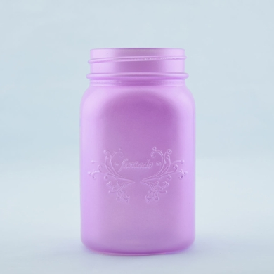 Fantado Wide Mouth Frosted Lavender Mason Jar w/ Handle, 32oz