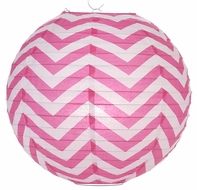 "14"" Fuchsia Chevron Paper Lantern, Even Ribbing, Hanging Decoration"