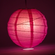 "12"" Fuchsia / Hot Pink Round Paper Lantern, Crisscross Ribbing, Hanging Decoration"