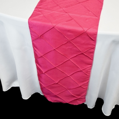 Fuchsia / Hot Pink Pintuck Chameleon Table Runner - 12 x 108 Inch