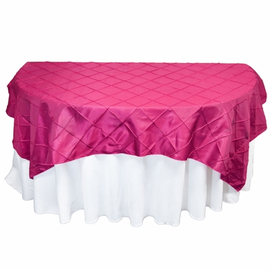 Fuchsia / Hot Pink Square Pintuck Chameleon Table Cloth Overlay Cover - 72 x 72 Inch