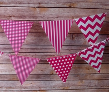 Fuchsia Mix Pattern Triangle Flag Pennant Banner (11FT)