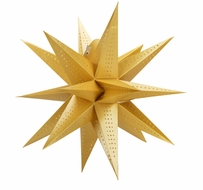 """24"""" Moravian Glossy Gold Multi-Point Paper Star Lantern Lamp, Hanging (Light Not Included)"""