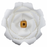 "Giant 16"" White Peony Paper Flower Backdrop Wall Decor, 3D Premade"
