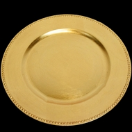 Gold Beaded Heavy Duty Charger Plate (13 Inch) - Rustic Brushed Finish
