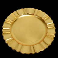 Gold Heavy Duty Charger Plate with Fluted Edge (13 Inch) - Rustic Brushed Finish