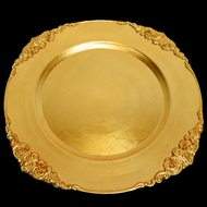 Gold Heavy Duty Charger Plate with Medieval Trim (13 Inch) - Rustic Brushed Finish