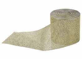 Gold Diamond Rhinestone Bling Mesh Wrap (30 FT)