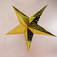 "24"" Gold Foil Cut-Out Paper Star Lantern, Hanging Decoration"