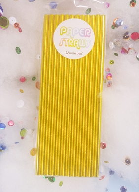 Gold Metallic Paper Straws for Parties, Solid Color (12-PACK)