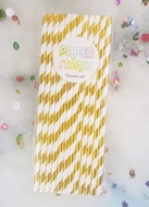 Gold Metallic Paper Straws, Striped Party Pattern (12-PACK)