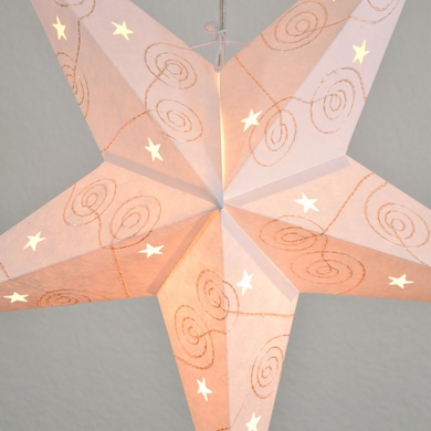"24"" Gold & White Swirl Embroidery Paper Star Lantern, Hanging Decoration"
