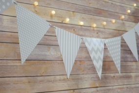 Gray / Grey Mix Pattern Triangle Flag Pennant Banner Decoration (11FT)