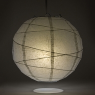 "8"" Gray / Grey Round Paper Lantern, Crisscross Ribbing, Hanging Decoration"