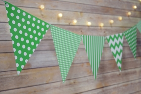 Green Mix Pattern Triangle Flag Pennant Banner Decoration (11FT)