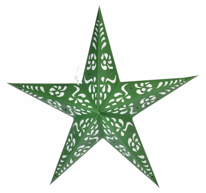 "24"" Green Punch Paper Star Lantern, Hanging Decoration"