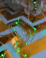 20 Green LED Micro Fairy String Lights, Wire (6ft, Battery Operated)