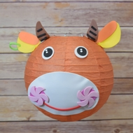 "8"" Paper Lantern Animal Face DIY Kit - Cow /Bull (Kid Craft Project)"