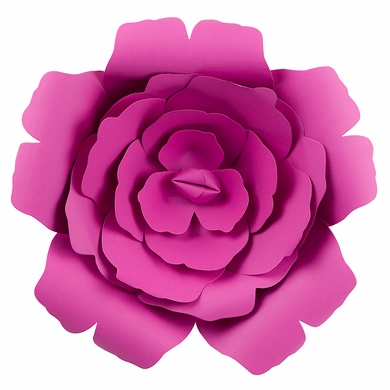 "Large 12"" Pre-Made Fuchsia / Hot Pink Rose Paper Flower Wedding Backdrop Wall Decor, 3D DIY"
