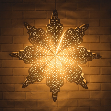 "Large 29"" White Holiday Moroccan Snowflake Paper Star Lantern, Hanging Decoration"