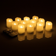 Long-Lasting Flameless LED Battery Operated Tea Lights w/ Remote Control, Timer (12-PACK)