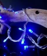 100 Indoor/Dry Outdoor Blue LED Mini String Lights, 28FT Clear Cord, Multi-flicker Modes