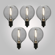 LED Filament Light Bulbs, G40 Globe Vintage Look, Energy Saving, E12 Base, 1 Watt (5-PACK)