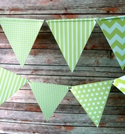 Light Lime Mix Pattern Triangle Flag Pennant Banner (11FT)