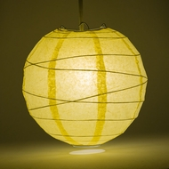 Lemon Yellow Chiffon Crisscross Ribbing Paper Lanterns