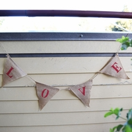 Love Burlap Triangle Flag Pennant Banner (5 Ft)