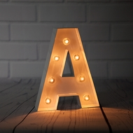 White Marquee Light Letter 'A' LED Metal Sign (8 Inch, Battery Operated w/ Timer)