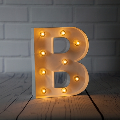 White Marquee Light Letter 'B' LED Metal Sign (8 Inch, Battery Operated w/ Timer)