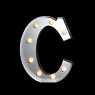 Marquee Light Letter 'C' LED Metal Sign (10 Inch, Battery Operated)