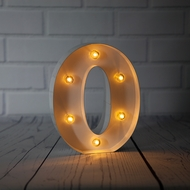 White Marquee Light Letter 'O' LED Metal Sign (8 Inch, Battery Operated w/ Timer)