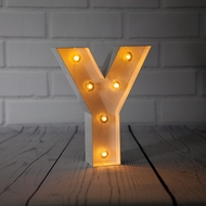 White Marquee Light Letter 'Y' LED Metal Sign (8 Inch, Battery Operated w/ Timer)
