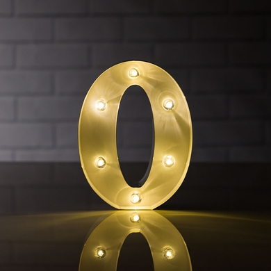 Marquee Light Number '0' LED Metal Sign (8 Inch, Battery Operated)