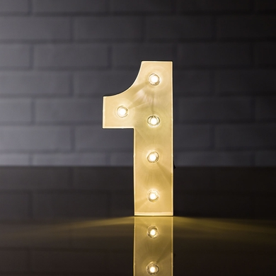 Marquee Light Number '1' LED Metal Sign (8 Inch, Battery Operated)