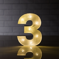Marquee Light Number '3' LED Metal Sign (8 Inch, Battery Operated)