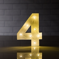 Marquee Light Number '4' LED Metal Sign (8 Inch, Battery Operated)