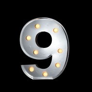 BLOWOUT Marquee Light Number '9' LED Metal Sign (10 Inch, Battery Operated)