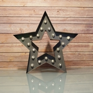 Marquee Light Star Shape LED Metal Sign, Dark Gray (Battery Operated)