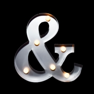 Marquee Light Symbol '& / Ampersand' LED Metal Sign (10 Inch, Battery Operated)