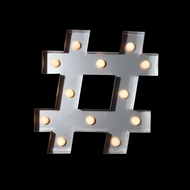 Marquee Light Symbol '#' Hashtag / Pound LED Metal Sign (Battery Operated)