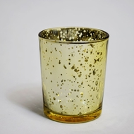 Mercury Glass Votive Tea Light Candle Holder - Gold (2.5 Inches) (6 PACK)